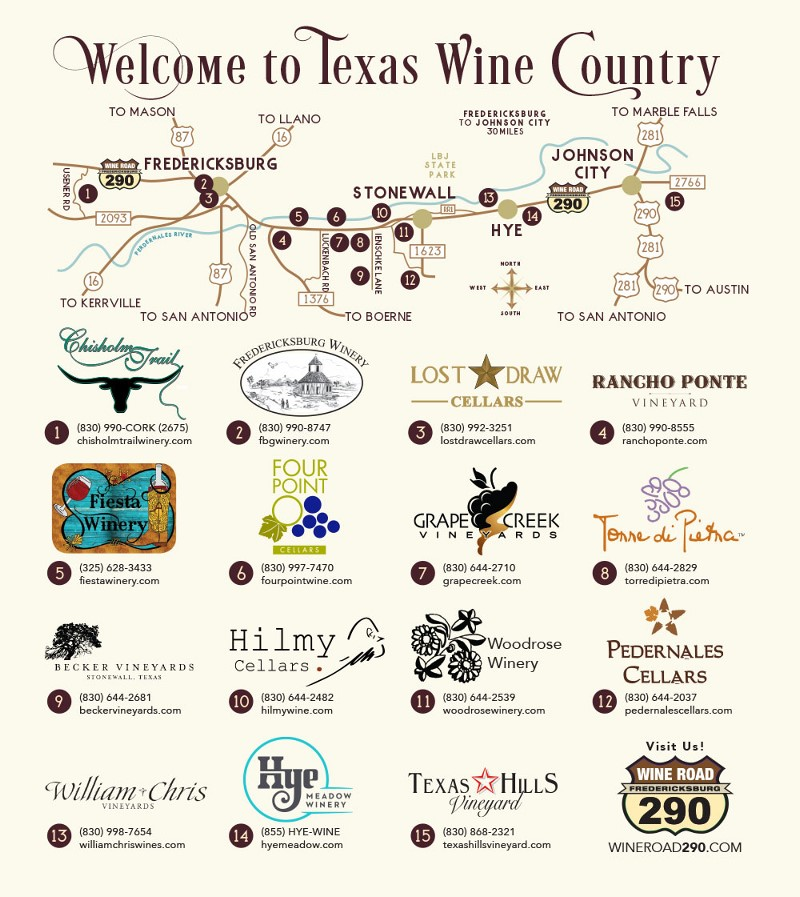 Fredericksburg Wine Road 290 | Texas Uncorked on rock hill texas map, new braunsfels texas map, houston texas map, new braunfels texas map, la coste texas map, kilgore texas on map, fort concho texas map, san saba texas map, auburn texas map, waxahachie texas on map, wimberley texas map, norfolk texas map, canton texas map, lake travis texas map, texas hill country map, rv parks texas map, concan texas map, hondo texas map, bandera texas map, san antonio map,