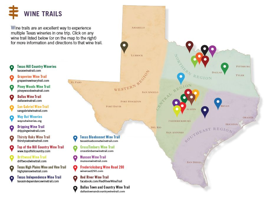 Texas Wine Country Map Texas Wine Trails Map | Texas Uncorked