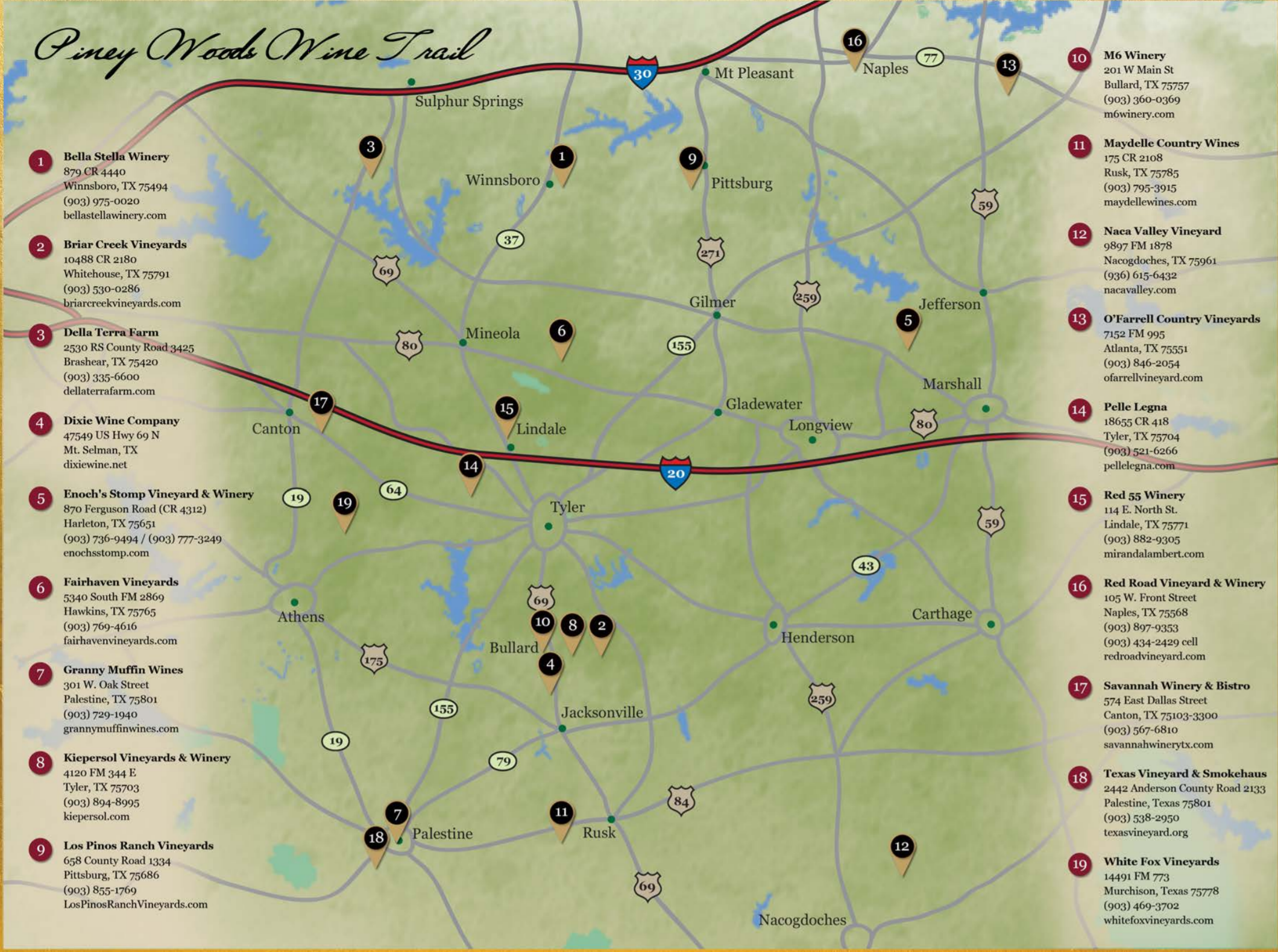 Map Of Texas Wineries.Piney Woods Wine Trail Texas Uncorked